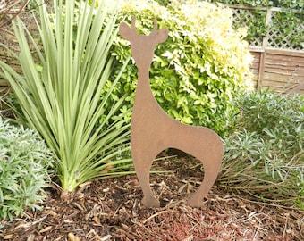 Rusty Metal Deer Sculpture / Comtemporary Deer Garden Art / Deer Statue / Deer Garden Centrepiece / Fawn Rusty Metal Garden Sculpture /
