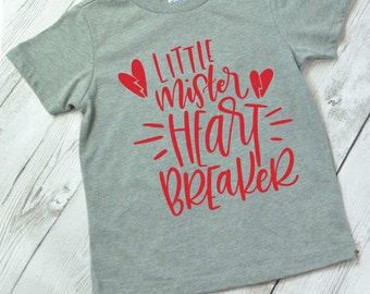 Valentine shirt for boys, Valentine shirt for girls, kids Valentine shirt, little Mr Heartbreaker shirt, Valentine shirt for boys, HT gray