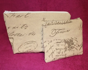 Set of 2 Cosmteic Bag/ Make Up bag/ pouch handmade