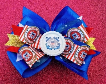 Coast Guard Military Hair Bow Anchor Red White Blue Troop Support