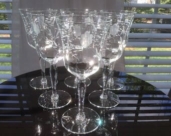 Vintage Etched Optic Glass Wine Glasses, set of 6