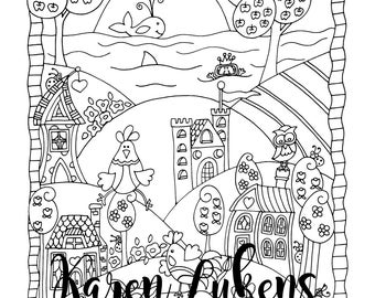 It's A Fine Day, 1 Adult Coloring Book Page, Printable Instant Download, Farm Animals