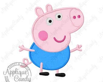 Pep Pig George Applique Machine Embroidery Design 4x4 5x7 6x10 little brother Peppa INSTANT DOWNLOAD