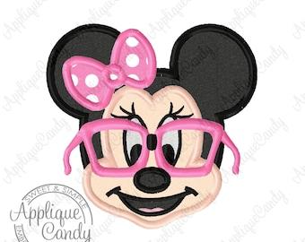 Miss Mouse Nerd Applique Machine Embroidery Applique Design 4x4 5x7 6x10 INSTANT DOWNLOAD