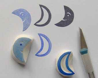 Moon rubber stamp, moon stamp, crescent moon stamp, set of 2, weather stamp, papercrafting, cute moon, new moon stamp, cardmaking, diy, gift