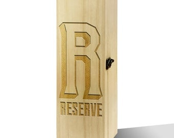 Wine Reserve Graphic Initial Plain Luxury Wooden Wine Box