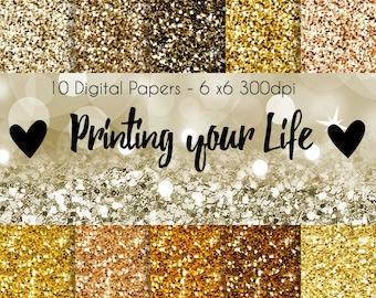 Gold Glitter Digital Papers 10 jpg 300dpi