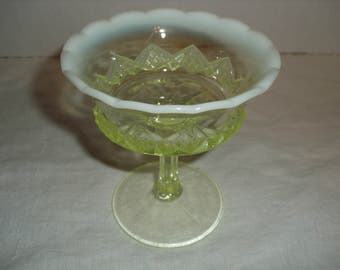 EAPG Yellow Vaseline Small Compote on Pedestal.