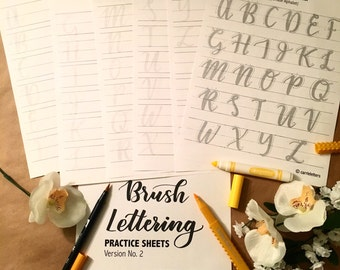 Brush Lettering Practice Sheets Ver. No. 2 (Uppercase)