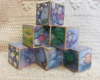 Rainbow Fish Picture Book Wooden Blocks