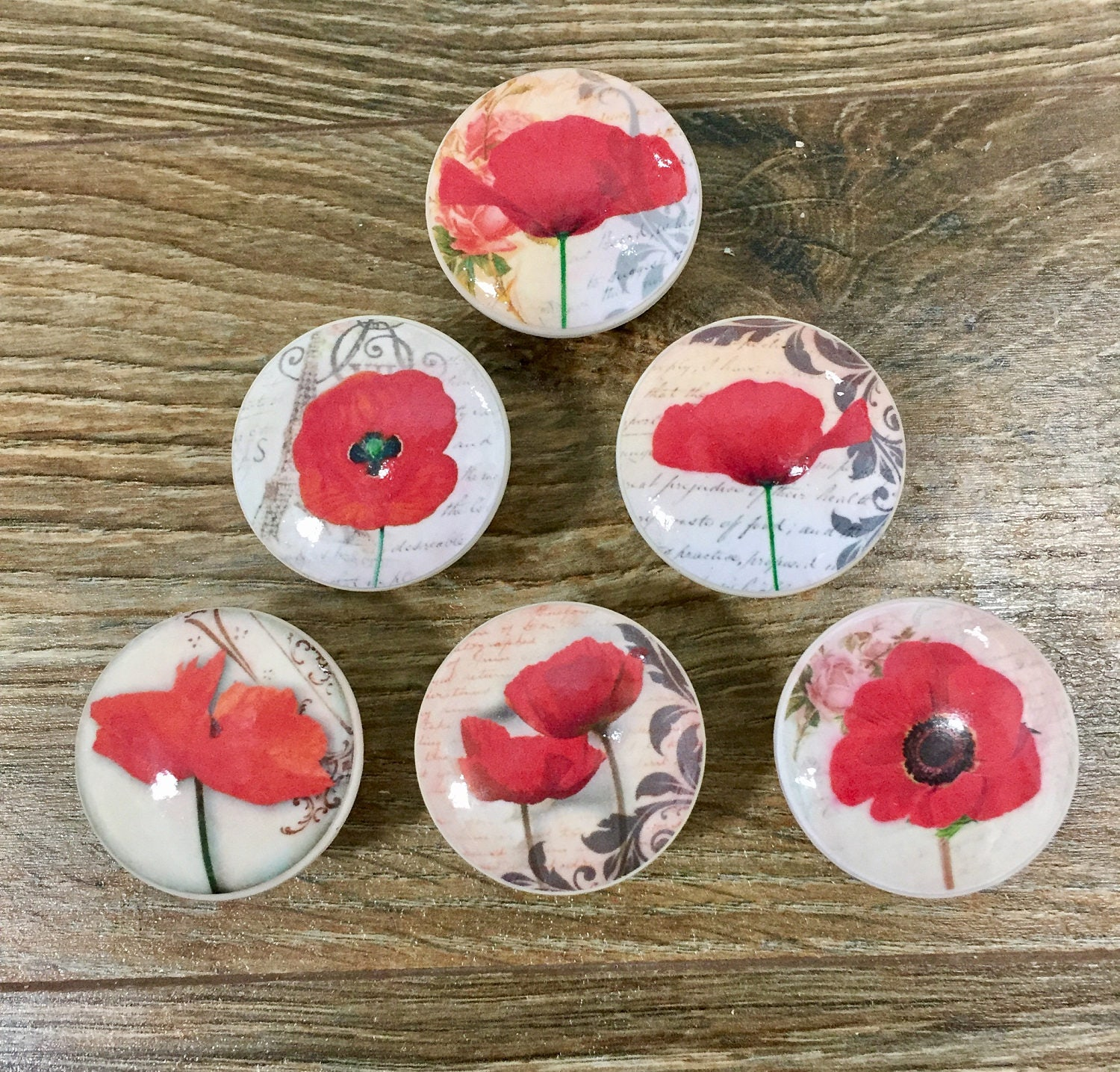 1 5 Inch Red Poppy Cabinet Knobs Drawer Pulls Floral Flowers Kitchen Decor From
