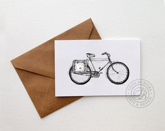 Bicycle Greeting Card 4x6'' Folded in Kraft Envelope