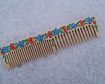 Hand painted comb Wooden comb Natural comb Hair comb Wooden crest Wooden hairbrush Comb for use Folk art Original comb