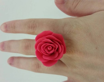 Hot pink polymer clay rose. Adjustable ring.