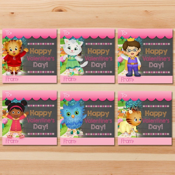 Daniel Tiger Valentine's Day Cards - Pink Chalkboard - Girl Daniel Tiger Valentines - Daniel Tiger School Valentine's Day Cards