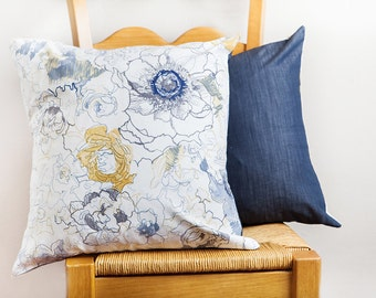 Floral Pillow Cover, Blue White, Pillow Cover, Colorful Floral Pillow, Spring Home Decor, Floral Throw Pillow, White Navy Pillow, Modern