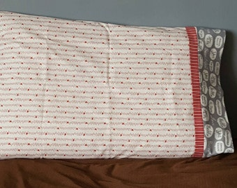 Red, white, and gray Valentine standard pillow case