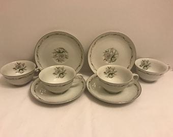 8 Piece Diamond China Romance Tea Cup & Saucer Set 1960's