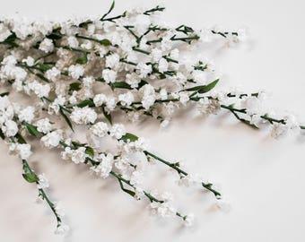 "1 Box/12pcs Blossoms Long Stems 29"", White, Artificial Silk Craft Florals, Faux Rustic Wedding Flowers Centerpieces"