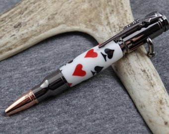 Mini Poker Bolt Action Pen, Acrylic Playing Card Gun Pen And Case