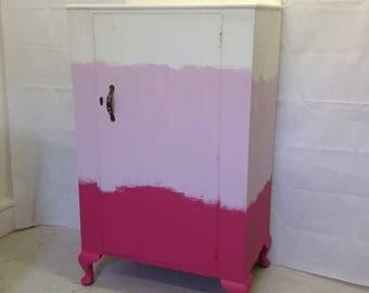 Linen cupboard, pink, white, vintage, cupboard