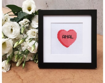 Rude Candy Heart Framed Cross Stitch