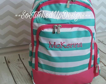 Adorable Girls Back Packs, Personalized backpacks, Monogrammed Book bags, Girls Backpack, Back to School, Embroidered Initials on Backpacks