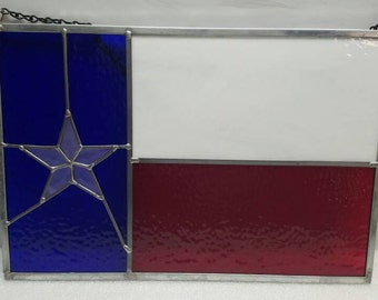 Handmade stained glass Texas flag