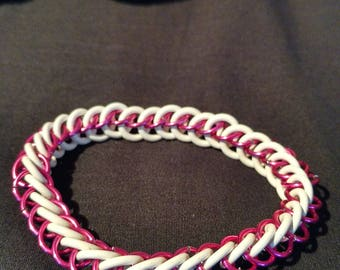 Pink and White Stretchy Chainmaille Bracelet