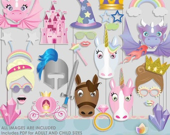 Fairytale Unicorn Dragon Photo Booth Props for Fairytale Party