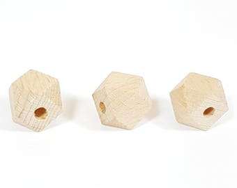 18mm Hexagon Natural Wood Bead (5mm hole), Large wooden beads, Large hole beads, Teething beads, Geometric Beads