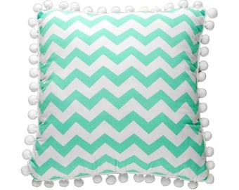 Pom Pom Pillow - Mint ZigZag