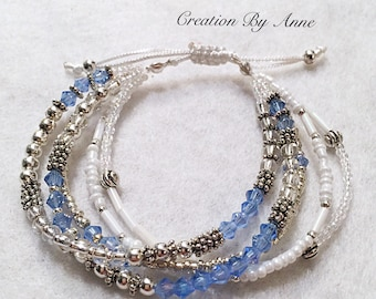 "BRACELETS ""Quinto"" Swarovski adjustable Free delivery in Canada :)"
