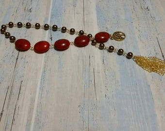Prayer beads, Baha'i gold toned 19 and 5 style prayer beads, brown glass pearls, red counter beads, tree of life charm,handmade chain tassel