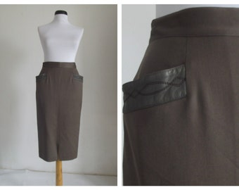 Claude Jaworski pencil skirt/  high waisted skirt / vintage70s-80s designer s