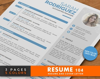 Professional Resume Template, 3 Pages Word Resume Design with Cover Letter, Modern and Creative CV Template in 5 Colors | Resume 104