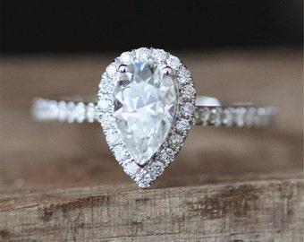 Forever Brilliant Moissanite Engagement Ring 6*9mm Pear Cut Brilliant Moissanite Ring Halo Diamond Half Eternity Diamond 14K White Gold Ring