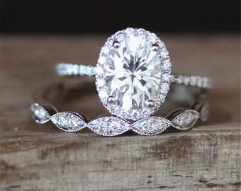Forever Brilliant Moissanite Engagement Ring Set FB 6*8mm Oval Cut Moissanite Ring Art Deco Half Eternity Wedding Ring Set 14K White Gold