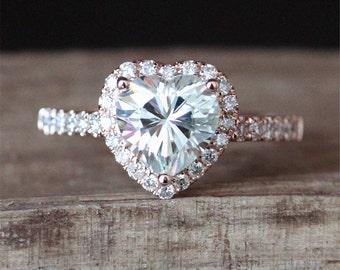 7mm Heart Shape Moissanite Ring Forever Classic Moissanite Engagement Ring Halo Diamonds Half Eternity Diamonds Ring 14K Rose Gold Ring