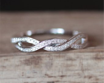 Conflict Free Diamond Ring Half Eternity Diamonds Crossed Style Wedding Ring Stackable Match Ring 14K White Gold Ring Match Band Bridal Ring
