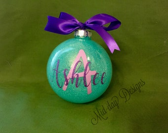 Personalized large glass ornament
