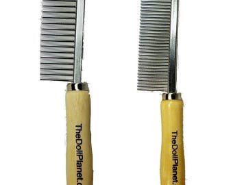 Combo 2 Pack Metal Fine Tooth for Blending and Wide Tooth Combs Hair and Wig Styling Doll Hair Combs The Doll Planet Exclusive For ALL Dolls
