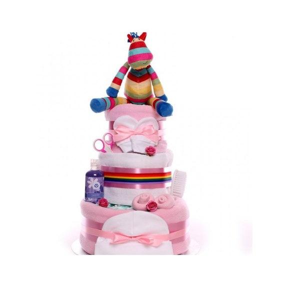 Stripy Horse Nappy Cake, Nappy cake baby girl, nappy cake baby shower, nappy cake maternity leave, nappy cake baby girl