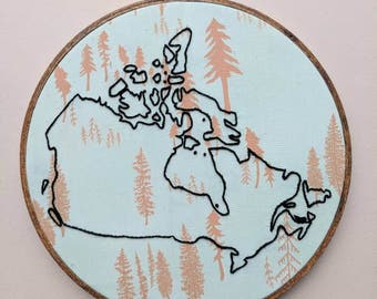 Canadian Map Embroidery, Map of Canada, Embroidered Map, outline of Canada