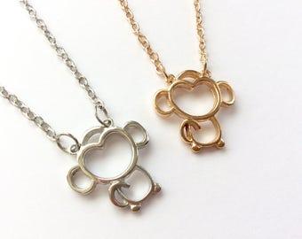 Cute monkey necklace , monkey pendant , monkey jewellery , necklace , cute gifts , jewelery, kawaii monkey