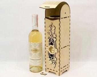 Wine Box, Laser Engraved