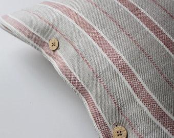 Striped Linen Pillow,  Grey Linen Pillow, Grey Pillow with Red Stripes, Grey Pillow Cover, Grey Linen Pillow with Stripes, Grey Linen Pillow