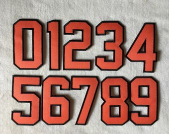 Number Iron On Patch #Orange With Black Border