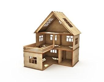 Dollhouse 3 floors, doll house, dollhouse, Wood dollhouse, Dollhouse kit, Natural dollhouse, Modern dollhouse, Wooden doll house, Scale 1:12