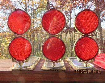 Vintage Grote Reflector Flares or Bookends with Red Metal Box Set of 3
